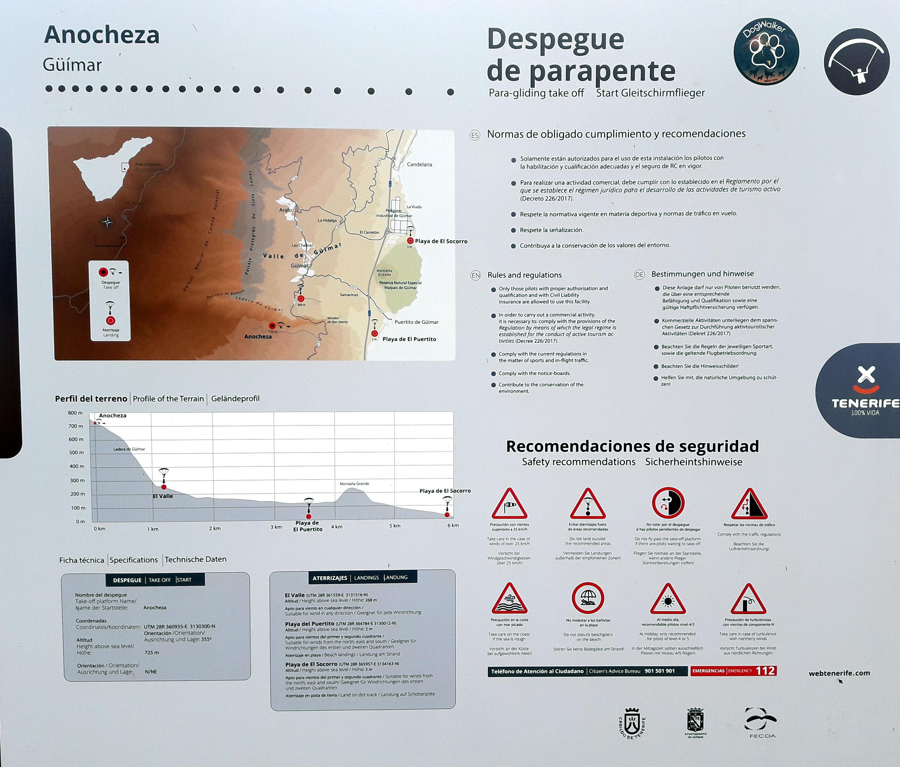 Tablica informacyjna startowiska paralotniowego Ladera de Guimar