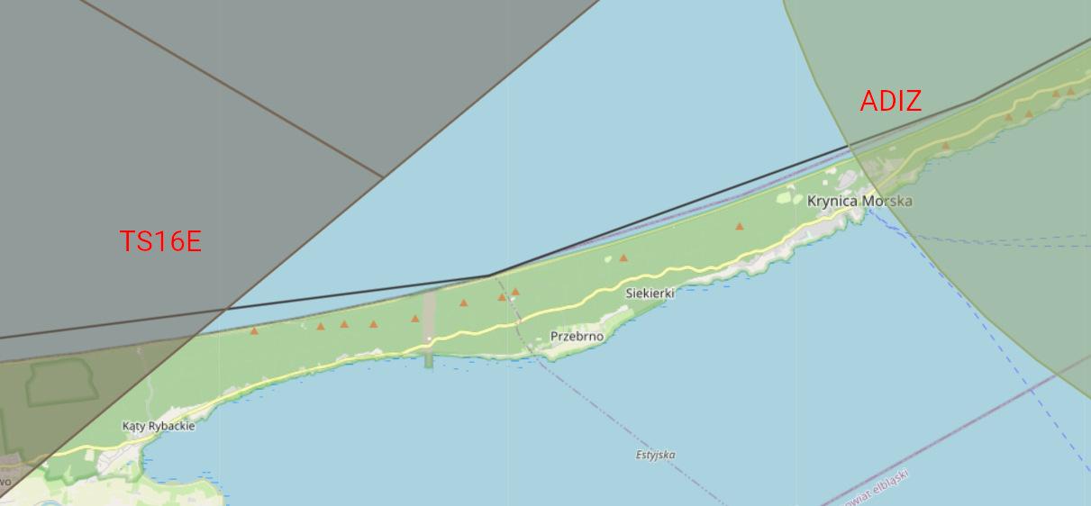 Strefy lotnicze w okolicach Mierzei Wiślanej Krynica Morska
